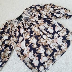Anthropologie C. Rowley Floral Keyhole Top
